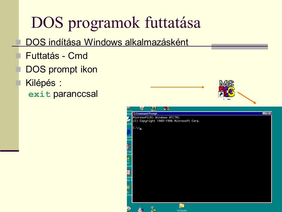 DOS programok futtatása  DOS indítása Windows alkalmazásként  Futtatás - Cmd  DOS prompt ikon  Kilépés : exit paranccsal