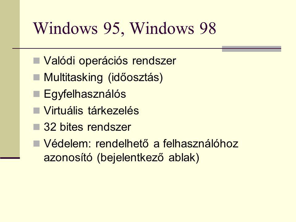 Windows 95, Windows 98  Valódi operációs rendszer  Multitasking (időosztás)  Egyfelhasználós  Virtuális tárkezelés  32 bites rendszer  Védelem: