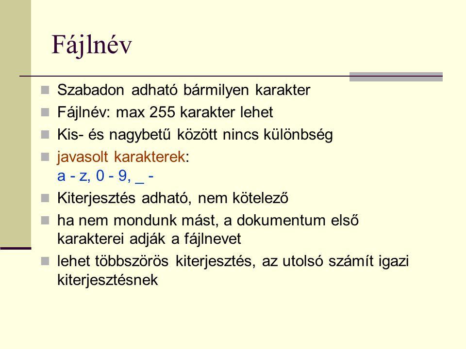 Fájlnév  Szabadon adható bármilyen karakter  Fájlnév: max 255 karakter lehet  Kis- és nagybetű között nincs különbség  javasolt karakterek: a - z,