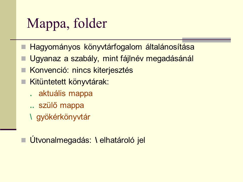 Mappa, folder  Hagyományos könyvtárfogalom általánosítása  Ugyanaz a szabály, mint fájlnév megadásánál  Konvenció: nincs kiterjesztés  Kitüntetett