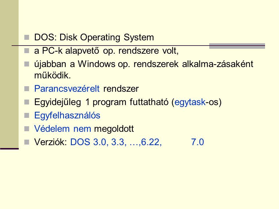  DOS: Disk Operating System  a PC-k alapvető op. rendszere volt,  újabban a Windows op. rendszerek alkalma-zásaként működik.  Parancsvezérelt rend