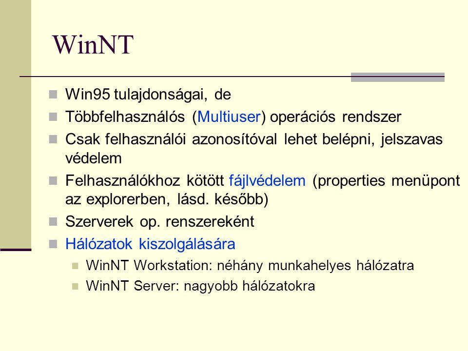 WinNT  Win95 tulajdonságai, de  Többfelhasználós (Multiuser) operációs rendszer  Csak felhasználói azonosítóval lehet belépni, jelszavas védelem 
