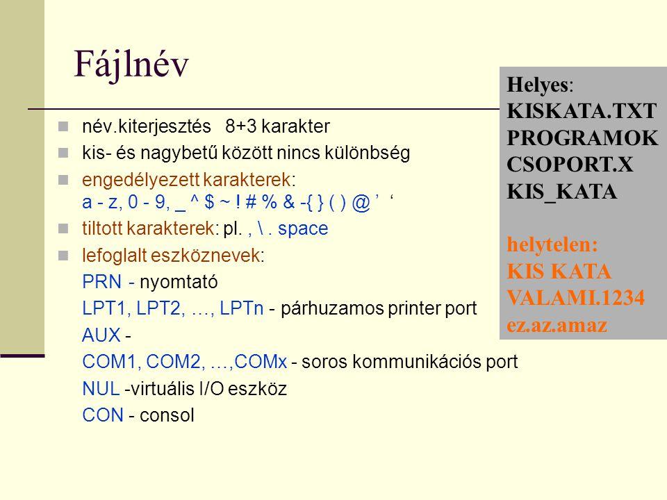 Fájlnév  név.kiterjesztés 8+3 karakter  kis- és nagybetű között nincs különbség  engedélyezett karakterek: a - z, 0 - 9, _ ^ $ ~ ! # % & -{ } ( ) @