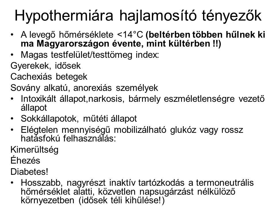 Hypothermiára hajlamosító tényezők •A levegő hőmérséklete <14°C (beltérben többen hűlnek ki ma Magyarországon évente, mint kültérben !!) •Magas testfe