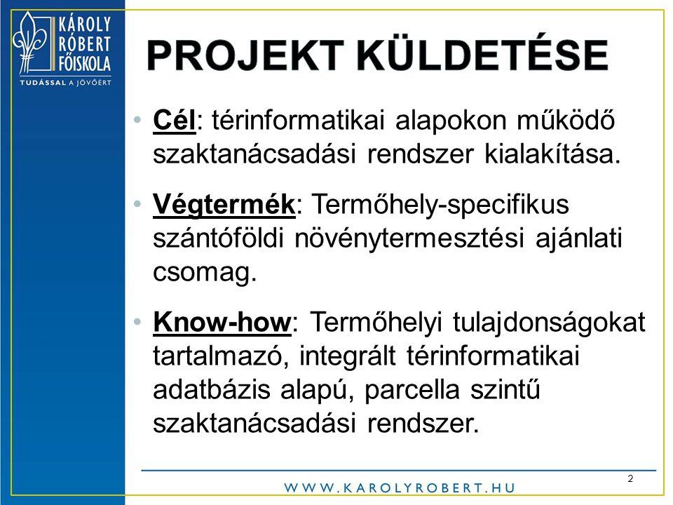 •Cél: térinformatikai alapokon működő szaktanácsadási rendszer kialakítása.