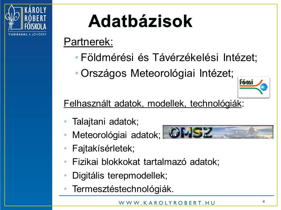 Partnerek: •Földmérési és Távérzékelési Intézet; •Országos Meteorológiai Intézet; Felhasznált adatok, modellek, technológiák: •Talajtani adatok; •Meteorológiai adatok; •Fajtakísérletek; •Fizikai blokkokat tartalmazó adatok; •Digitális terepmodellek; •Termesztéstechnológiák.