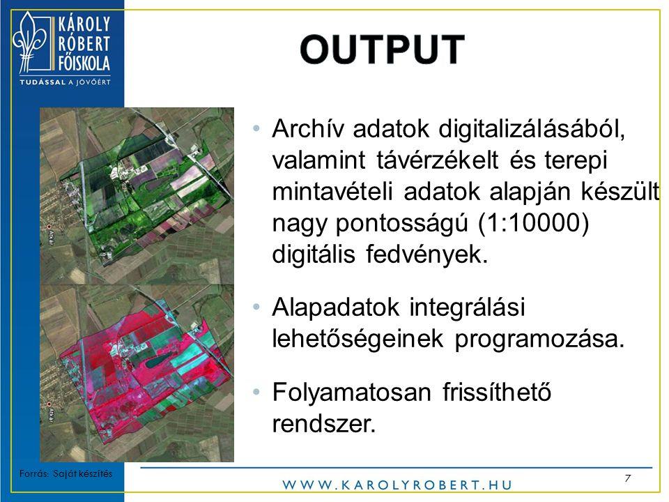 •Archív adatok digitalizálásából, valamint távérzékelt és terepi mintavételi adatok alapján készült nagy pontosságú (1:10000) digitális fedvények.