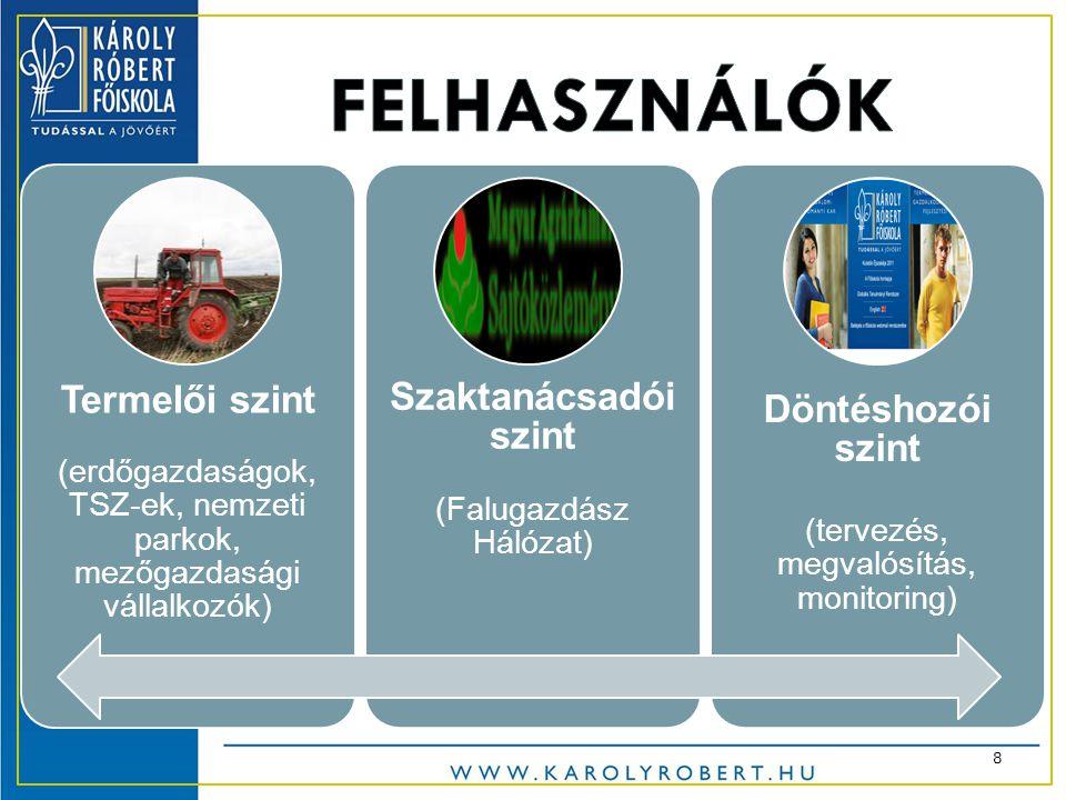 Termelői szint (erdőgazdaságok, TSZ-ek, nemzeti parkok, mezőgazdasági vállalkozók) Szaktanácsadói szint (Falugazdász Hálózat) Döntéshozói szint (tervezés, megvalósítás, monitoring) 8