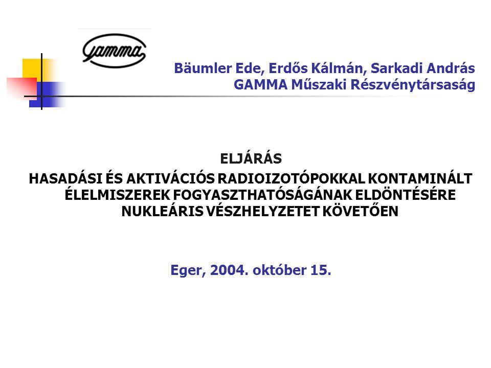 Bäumler Ede, Erdős Kálmán, Sarkadi András GAMMA Műszaki Részvénytársaság ELJÁRÁS HASADÁSI ÉS AKTIVÁCIÓS RADIOIZOTÓPOKKAL KONTAMINÁLT ÉLELMISZEREK FOGY