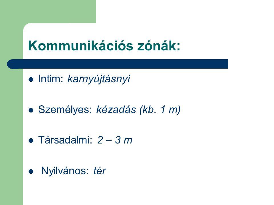 Kommunikációs zónák:  Intim: karnyújtásnyi  Személyes: kézadás (kb. 1 m)  Társadalmi: 2 – 3 m  Nyilvános: tér