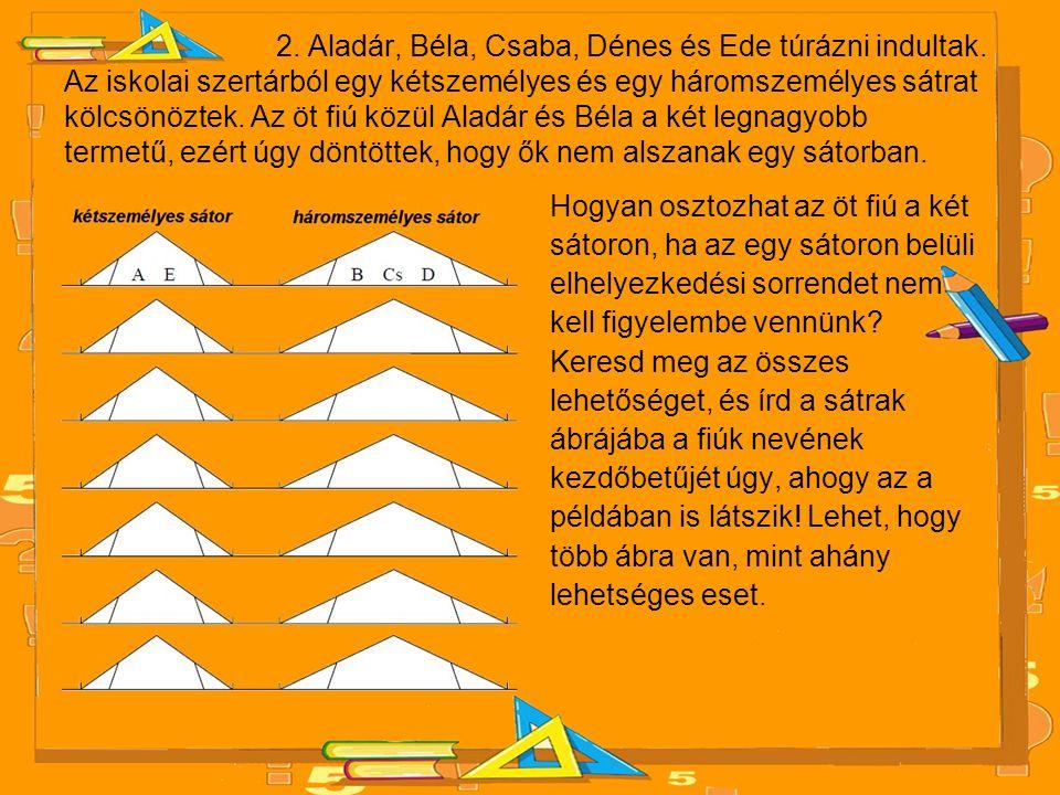 2. Aladár, Béla, Csaba, Dénes és Ede túrázni indultak. Az iskolai szertárból egy kétszemélyes és egy háromszemélyes sátrat kölcsönöztek. Az öt fiú köz