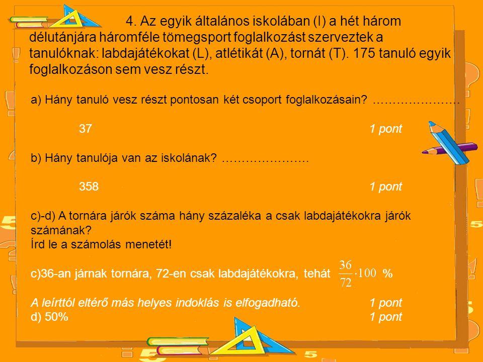 4. Az egyik általános iskolában (I) a hét három délutánjára háromféle tömegsport foglalkozást szerveztek a tanulóknak: labdajátékokat (L), atlétikát (