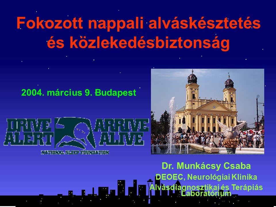 Fokozott nappali alváskésztetés és közlekedésbiztonság Dr. Munkácsy Csaba DEOEC, Neurológiai Klinika Alvásdiagnosztikai és Terápiás Laboratórium 2004.