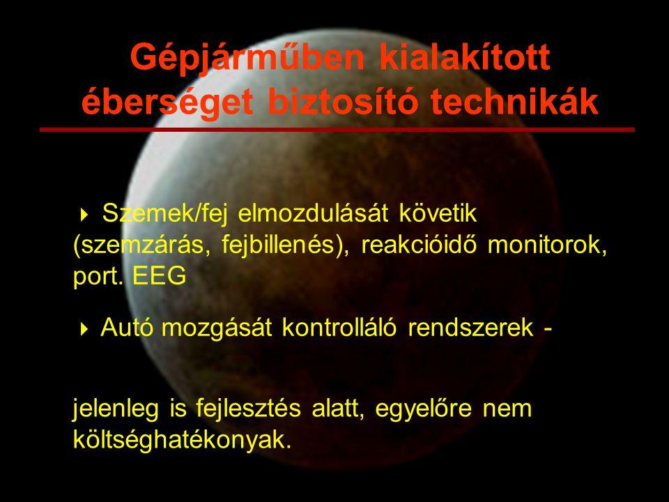  Szemek/fej elmozdulását követik (szemzárás, fejbillenés), reakcióidő monitorok, port. EEG  Autó mozgását kontrolláló rendszerek - Gépjárműben kiala