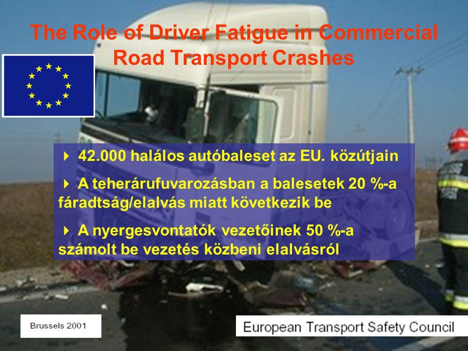  42.000 halálos autóbaleset az EU. közútjain  A teherárufuvarozásban a balesetek 20 %-a fáradtság/elalvás miatt következik be  A nyergesvontatók ve