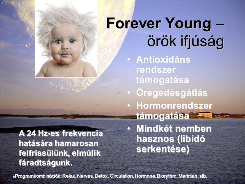 Forever Young – örök ifjúság Forever Young – örök ifjúság •Antioxidáns rendszer támogatása •Öregedésgátlás •Hormonrendszer támogatása •Mindkét nemben