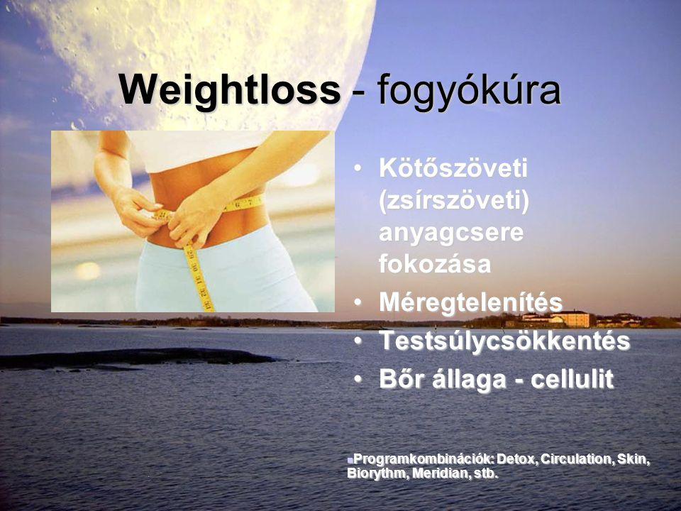 Weightloss - fogyókúra •Kötőszöveti (zsírszöveti) anyagcsere fokozása •Méregtelenítés •Testsúlycsökkentés •Bőr állaga - cellulit  Programkombinációk: