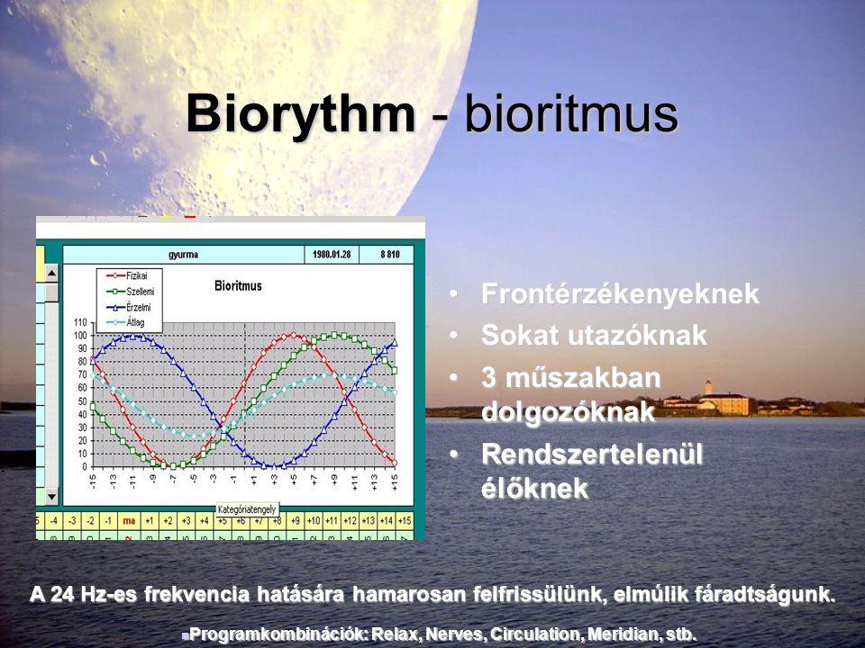 Biorythm - bioritmus •Frontérzékenyeknek •Sokat utazóknak •3 műszakban dolgozóknak •Rendszertelenül élőknek A 24 Hz-es frekvencia hatására hamarosan f