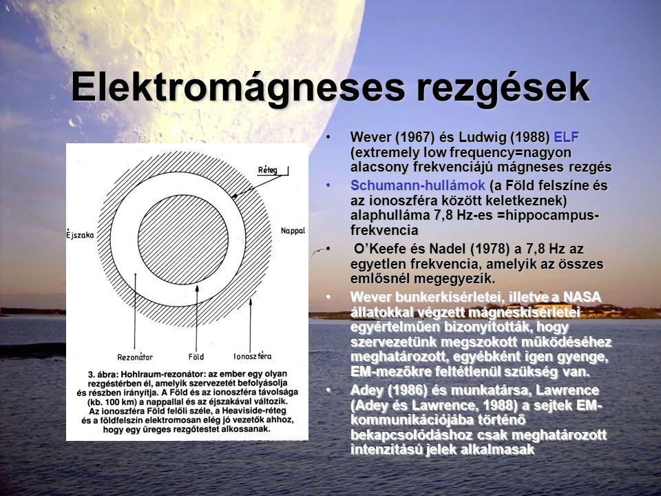 Elektromágneses rezgések •Wever (1967) és Ludwig (1988) ELF (extremely low frequency=nagyon alacsony frekvenciájú mágneses rezgés •Schumann-hullámok (