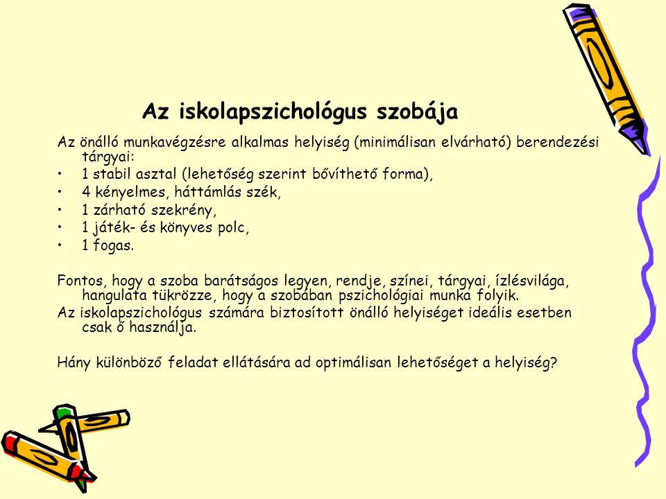 Az iskolapszichológus szobája Az önálló munkavégzésre alkalmas helyiség (minimálisan elvárható) berendezési tárgyai: •1 stabil asztal (lehetőség szeri