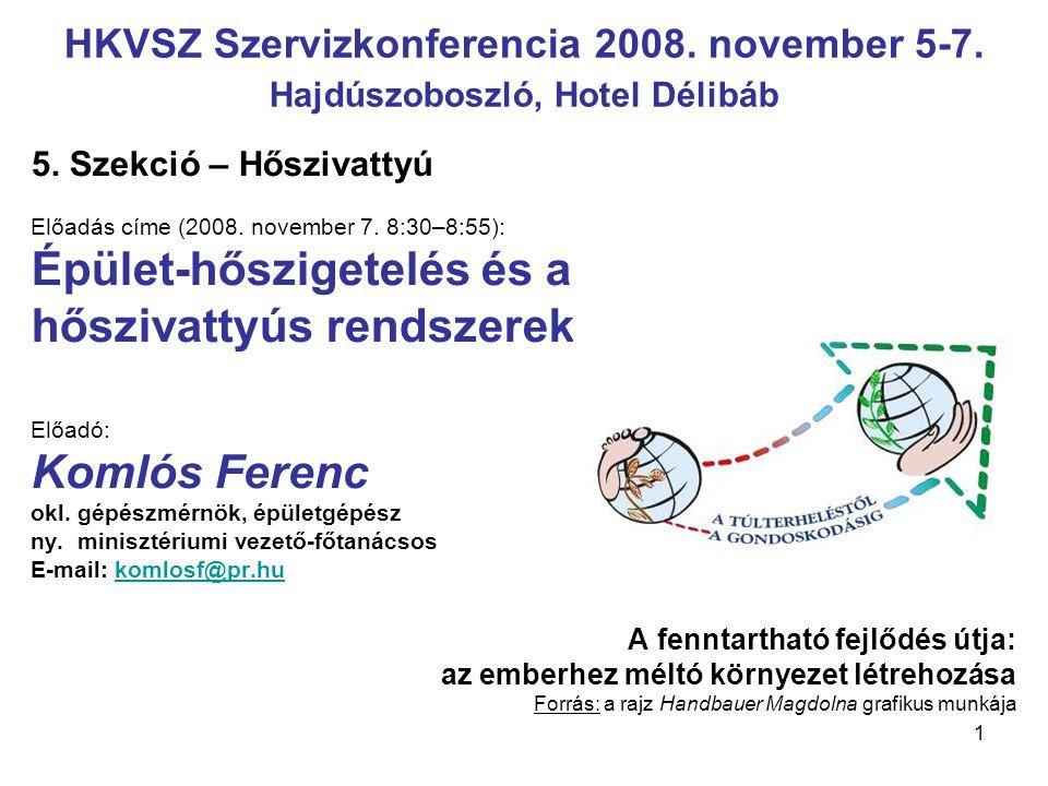 1 HKVSZ Szervizkonferencia 2008. november 5-7. Hajdúszoboszló, Hotel Délibáb 5. Szekció – Hőszivattyú Előadás címe (2008. november 7. 8:30–8:55): Épül