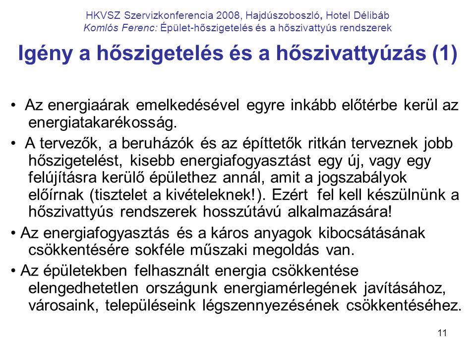 11 HKVSZ Szervizkonferencia 2008, Hajdúszoboszló, Hotel Délibáb Komlós Ferenc: Épület-hőszigetelés és a hőszivattyús rendszerek Igény a hőszigetelés é