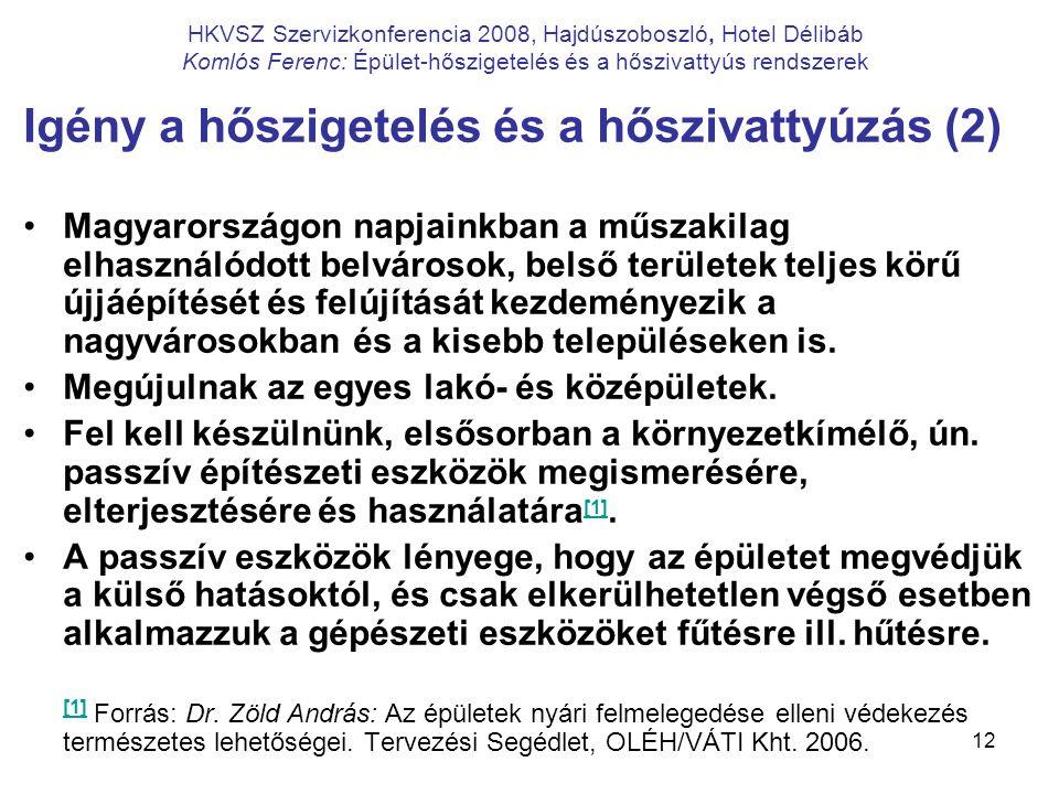 12 HKVSZ Szervizkonferencia 2008, Hajdúszoboszló, Hotel Délibáb Komlós Ferenc: Épület-hőszigetelés és a hőszivattyús rendszerek Igény a hőszigetelés é