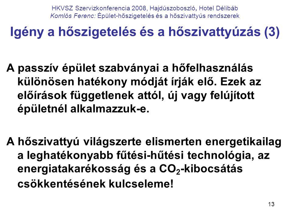 13 HKVSZ Szervizkonferencia 2008, Hajdúszoboszló, Hotel Délibáb Komlós Ferenc: Épület-hőszigetelés és a hőszivattyús rendszerek Igény a hőszigetelés é