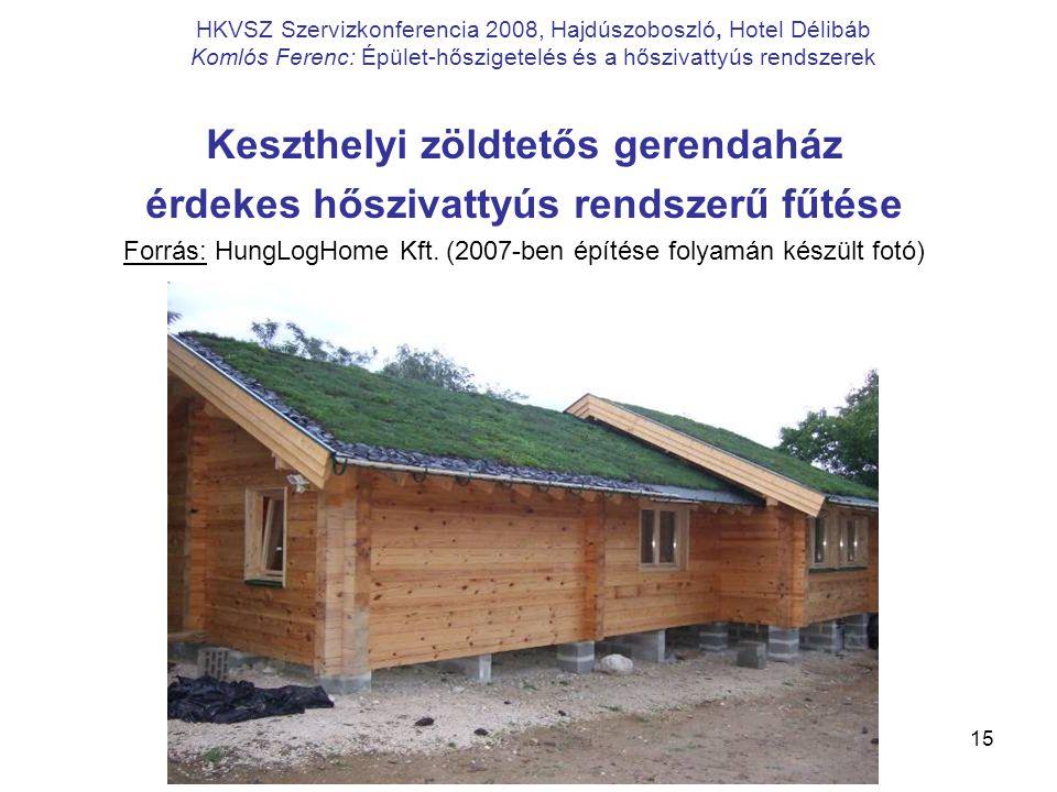 15 HKVSZ Szervizkonferencia 2008, Hajdúszoboszló, Hotel Délibáb Komlós Ferenc: Épület-hőszigetelés és a hőszivattyús rendszerek Keszthelyi zöldtetős g