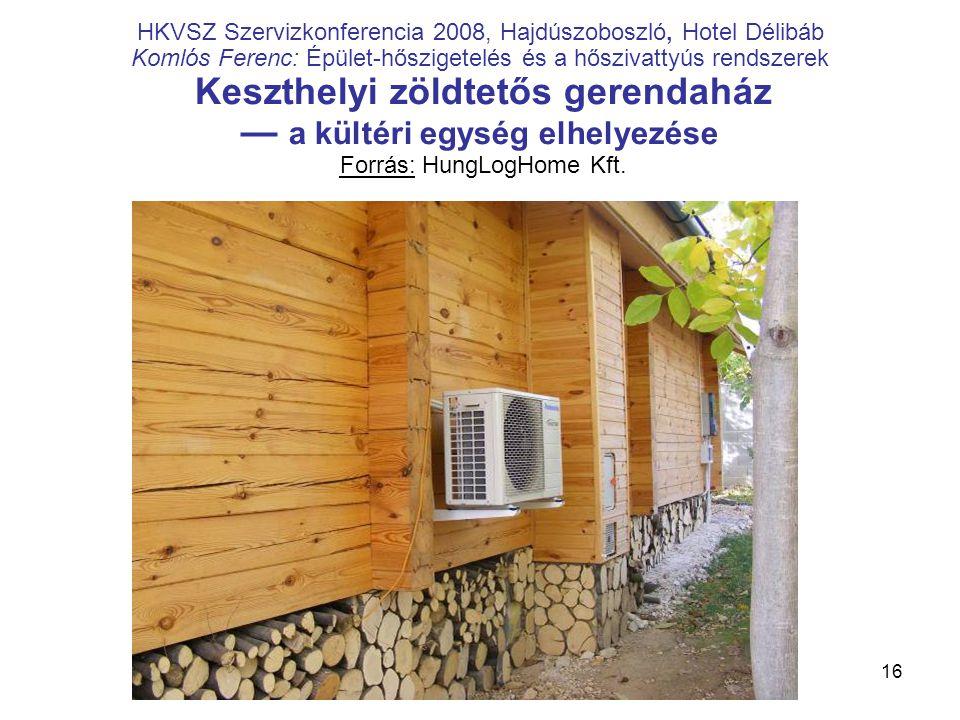 16 HKVSZ Szervizkonferencia 2008, Hajdúszoboszló, Hotel Délibáb Komlós Ferenc: Épület-hőszigetelés és a hőszivattyús rendszerek Keszthelyi zöldtetős g