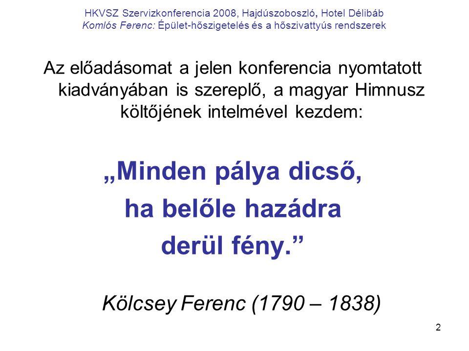 2 HKVSZ Szervizkonferencia 2008, Hajdúszoboszló, Hotel Délibáb Komlós Ferenc: Épület-hőszigetelés és a hőszivattyús rendszerek Az előadásomat a jelen