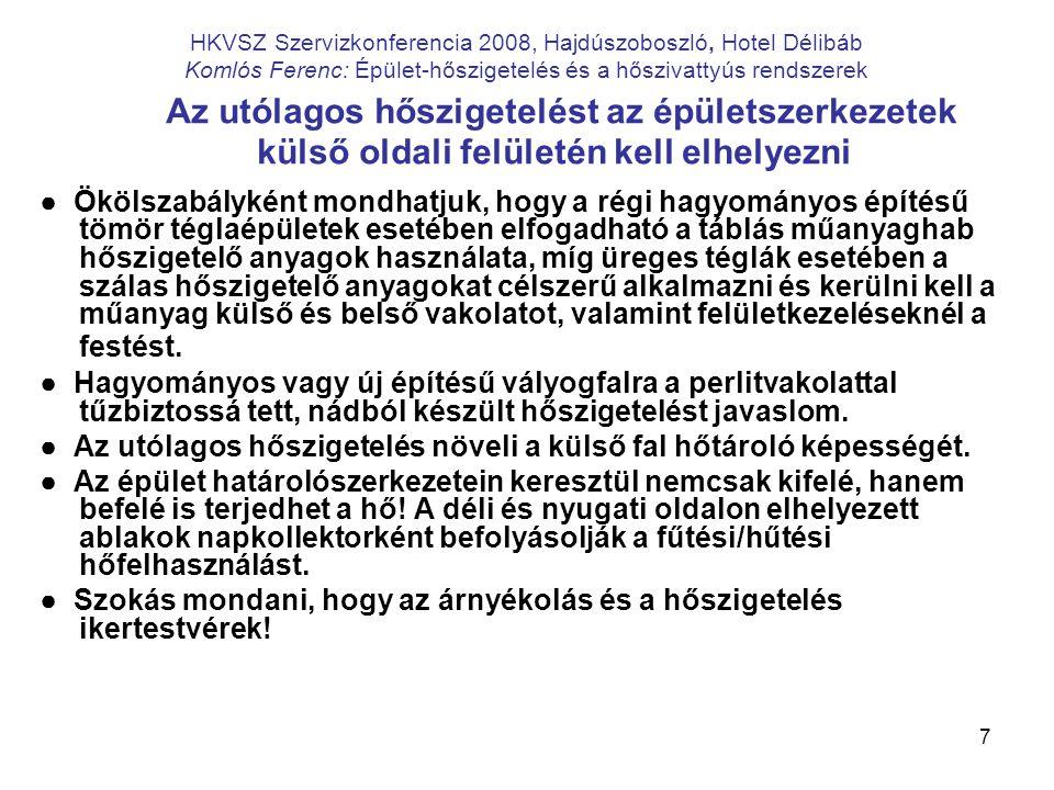 7 HKVSZ Szervizkonferencia 2008, Hajdúszoboszló, Hotel Délibáb Komlós Ferenc: Épület-hőszigetelés és a hőszivattyús rendszerek Az utólagos hőszigetelé