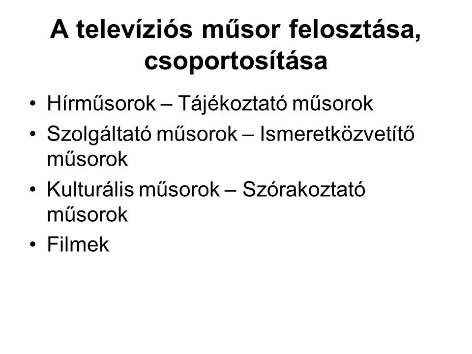 A televíziós műsor felosztása, csoportosítása •Hírműsorok – Tájékoztató műsorok •Szolgáltató műsorok – Ismeretközvetítő műsorok •Kulturális műsorok –