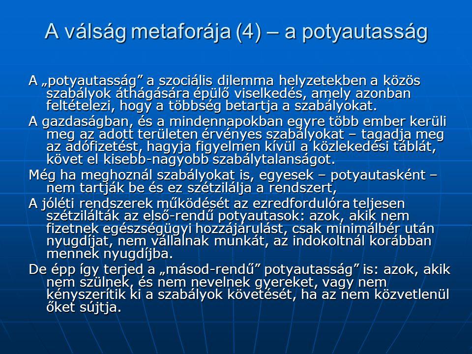 """A válság metaforája (4) – a potyautasság A """"potyautasság a szociális dilemma helyzetekben a közös szabályok áthágására épülő viselkedés, amely azonban feltételezi, hogy a többség betartja a szabályokat."""