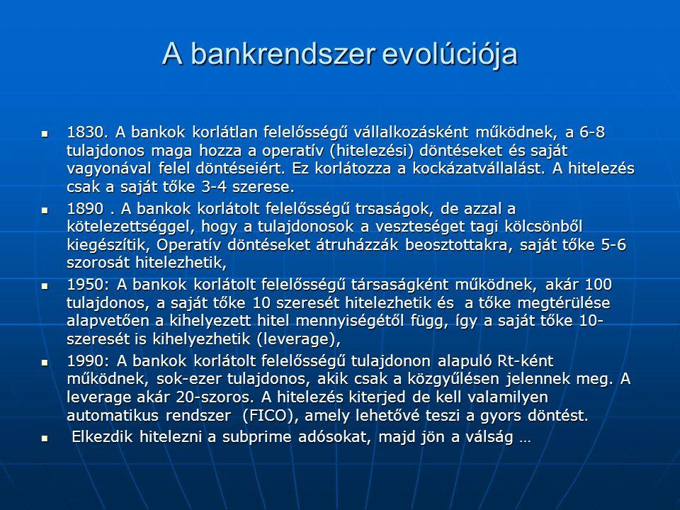 A bankrendszer evolúciója  1830.