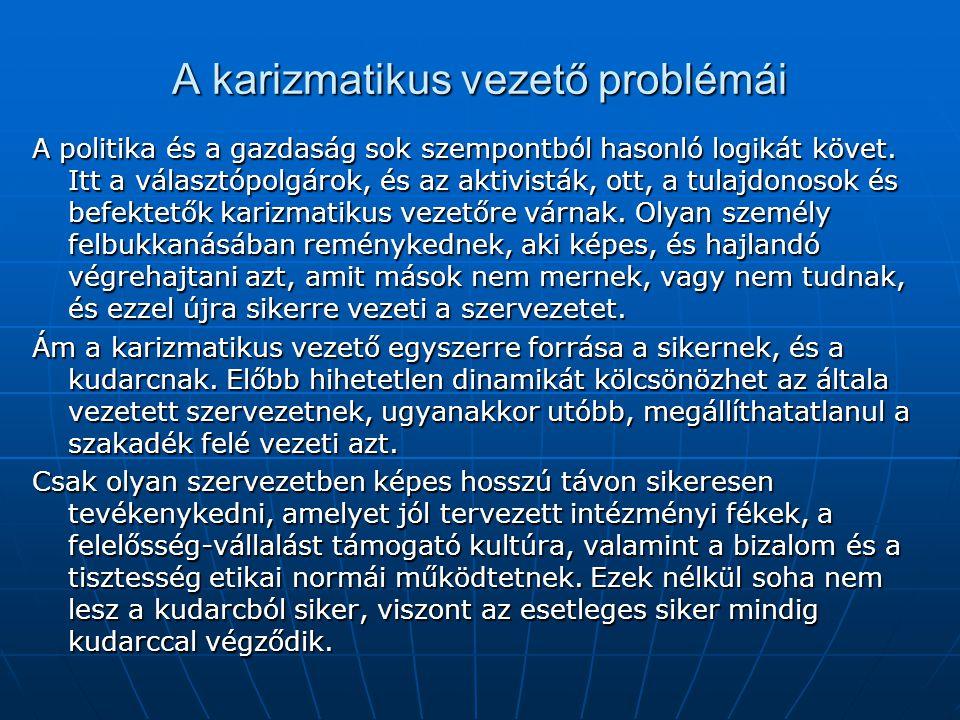 A karizmatikus vezető problémái A politika és a gazdaság sok szempontból hasonló logikát követ.