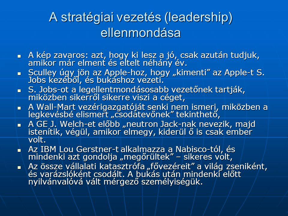 A stratégiai vezetés (leadership) ellenmondása  A kép zavaros: azt, hogy ki lesz a jó, csak azután tudjuk, amikor már elment és eltelt néhány év.