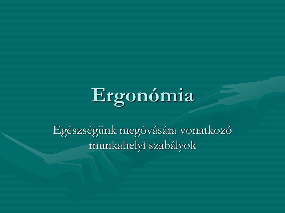 Ergonómia Egészségünk megóvására vonatkozó munkahelyi szabályok
