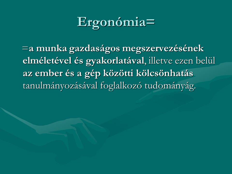 Ergonómia= =a munka gazdaságos megszervezésének elméletével és gyakorlatával, illetve ezen belül az ember és a gép közötti kölcsönhatás tanulmányozásá