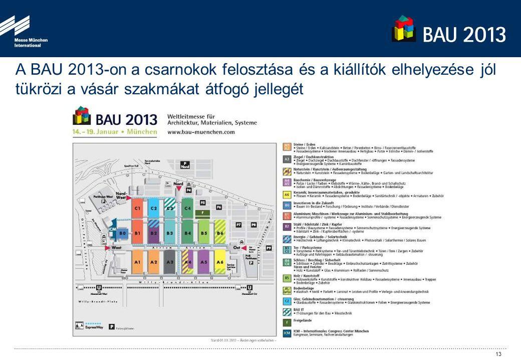 A BAU 2013-on a csarnokok felosztása és a kiállítók elhelyezése jól tükrözi a vásár szakmákat átfogó jellegét 13