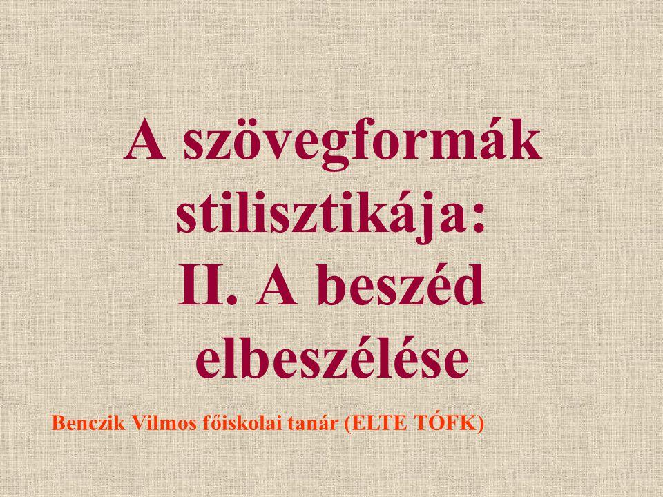 A szövegformák stilisztikája: II. A beszéd elbeszélése Benczik Vilmos főiskolai tanár (ELTE TÓFK)