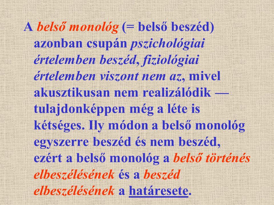 A belső monológ (= belső beszéd) azonban csupán pszichológiai értelemben beszéd, fiziológiai értelemben viszont nem az, mivel akusztikusan nem realizá