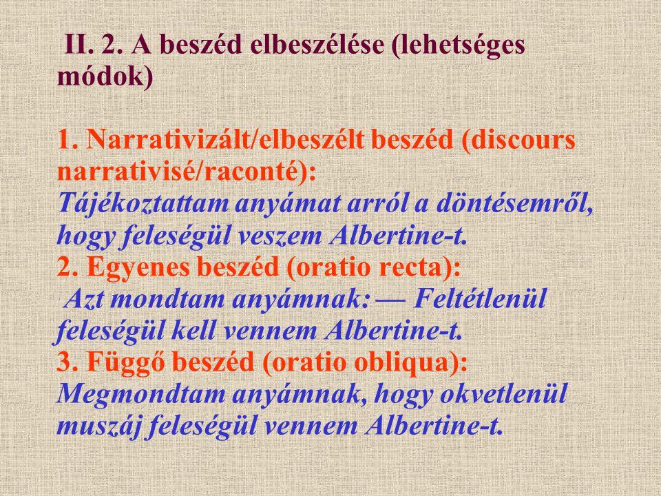 II.2. A beszéd elbeszélése (lehetséges módok — folytatás) 4.