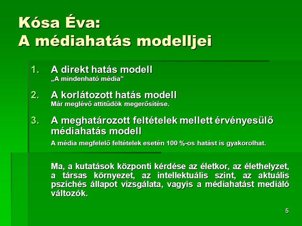 """5 Kósa Éva: A médiahatás modelljei 1.A direkt hatás modell """"A mindenható média"""" 2.A korlátozott hatás modell Már meglévő attitűdök megerősítése. 3.A m"""