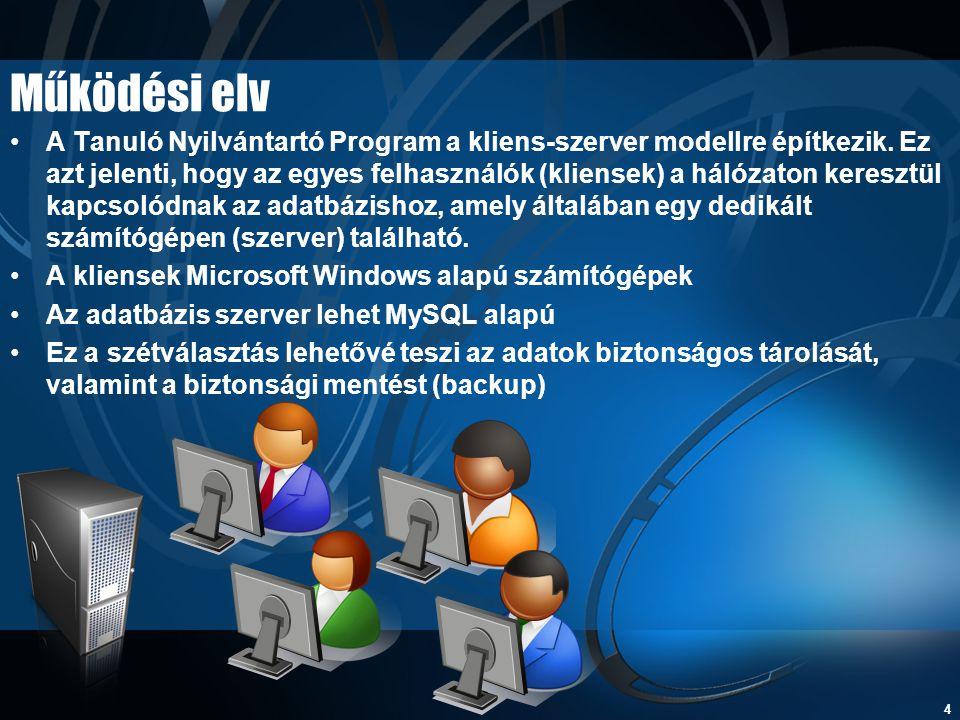 4 Működési elv •A Tanuló Nyilvántartó Program a kliens-szerver modellre építkezik. Ez azt jelenti, hogy az egyes felhasználók (kliensek) a hálózaton k