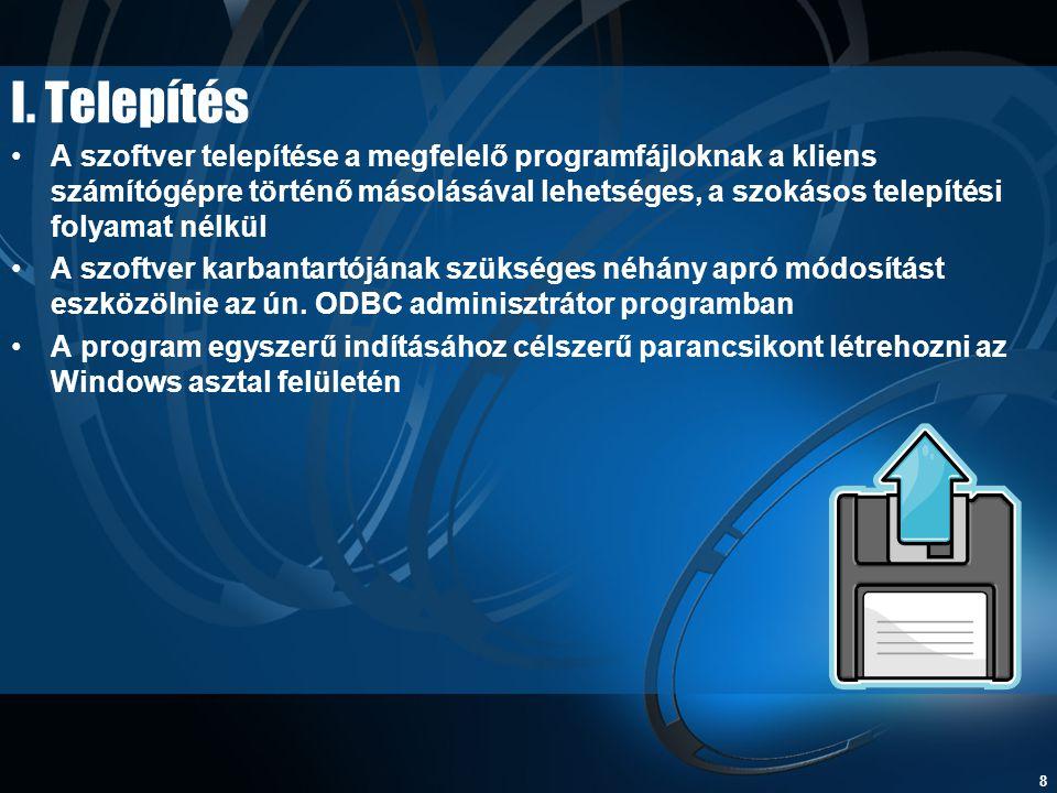 8 I. Telepítés •A szoftver telepítése a megfelelő programfájloknak a kliens számítógépre történő másolásával lehetséges, a szokásos telepítési folyama