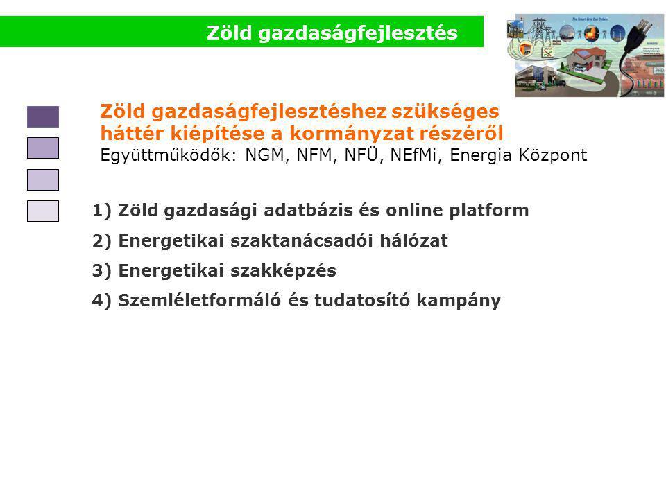 Zöld gazdaságfejlesztés Zöld gazdaságfejlesztéshez szükséges háttér kiépítése a kormányzat részéről Együttműködők: NGM, NFM, NFÜ, NEfMi, Energia Központ 1) Zöld gazdasági adatbázis és online platform 2) Energetikai szaktanácsadói hálózat 3) Energetikai szakképzés 4) Szemléletformáló és tudatosító kampány