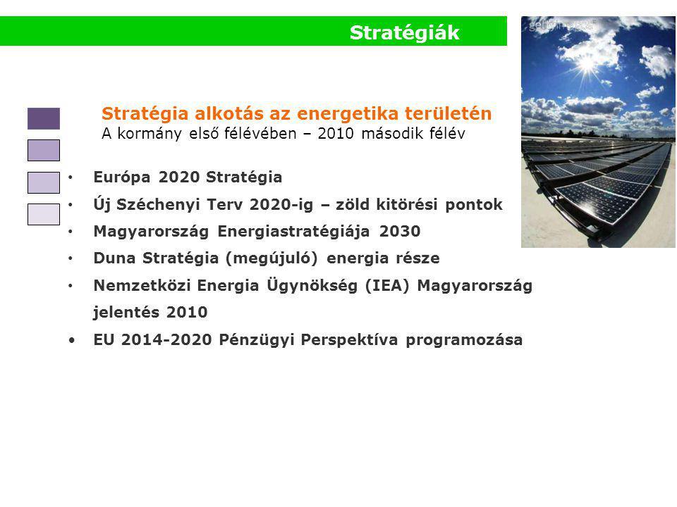 Stratégiák Stratégia alkotás az energetika területén A kormány első félévében – 2010 második félév • Európa 2020 Stratégia • Új Széchenyi Terv 2020-ig – zöld kitörési pontok • Magyarország Energiastratégiája 2030 • Duna Stratégia (megújuló) energia része • Nemzetközi Energia Ügynökség (IEA) Magyarország jelentés 2010 •EU 2014-2020 Pénzügyi Perspektíva programozása
