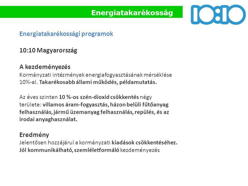 Energiatakarékossági programok 10:10 Magyarország A kezdeményezés Kormányzati intézmények energiafogyasztásának mérséklése 10%-al. Takarékosabb állami
