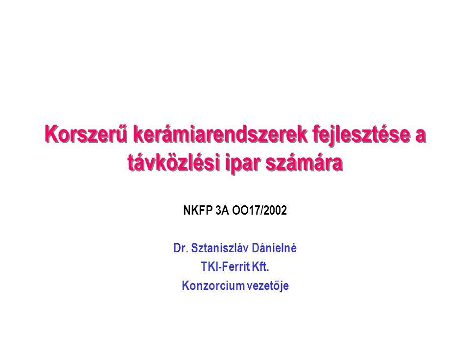 Korszerű kerámiarendszerek fejlesztése a távközlési ipar számára NKFP 3A OO17/2002 Dr.